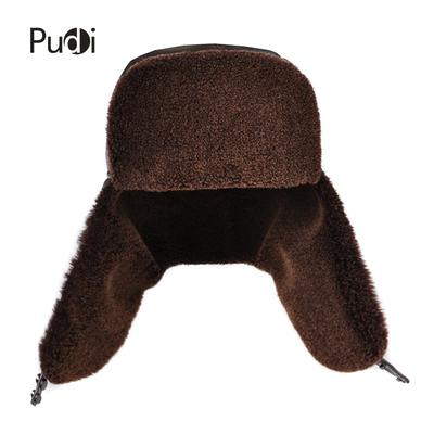 896febf7825 genuine leather men s Bomber Earmuffs with earlflap Russian winter Faux fur  hats caps brown black