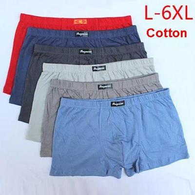 6 Pairs of Pure Cotton Underwear Men's Boxer Shorts Mid-waist Large Size Boxer Briefs Loose Shorts