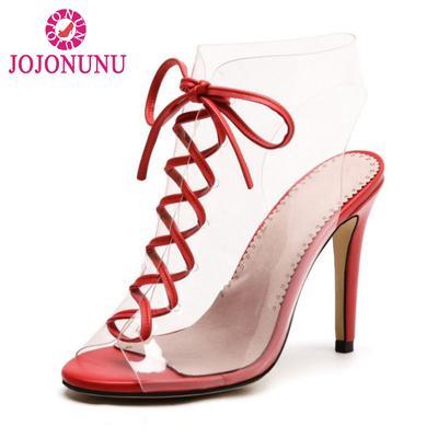 62fd02b68 Tamanho que 33-43 marca geleia sapatos mulheres finas Alto Salto Peep Toe  sandálias Cruz