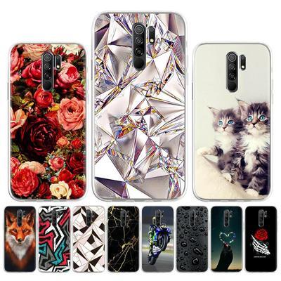 Soft Case for Xiaomi Redmi 9 Case Silicone for Xiaomi Redmi9 M2004J19G Cover Cute Cat Animal Flowers Patterned Soft TPU Phone Bumper