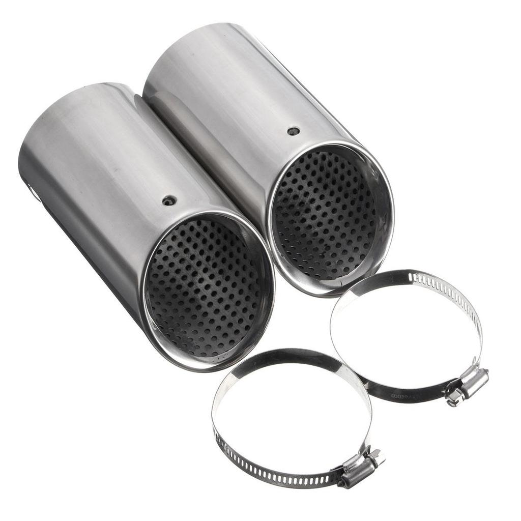 2X STAINLESS STEEL EXHAUST TAIL REAR MUFFLER TIP PIPE Fit VW Passat B6 CC EOS