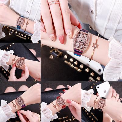 Digital Number Sky Star Water Diamond Wine Bucket Lady Women Watch Rose Gold Silver Belt Watch