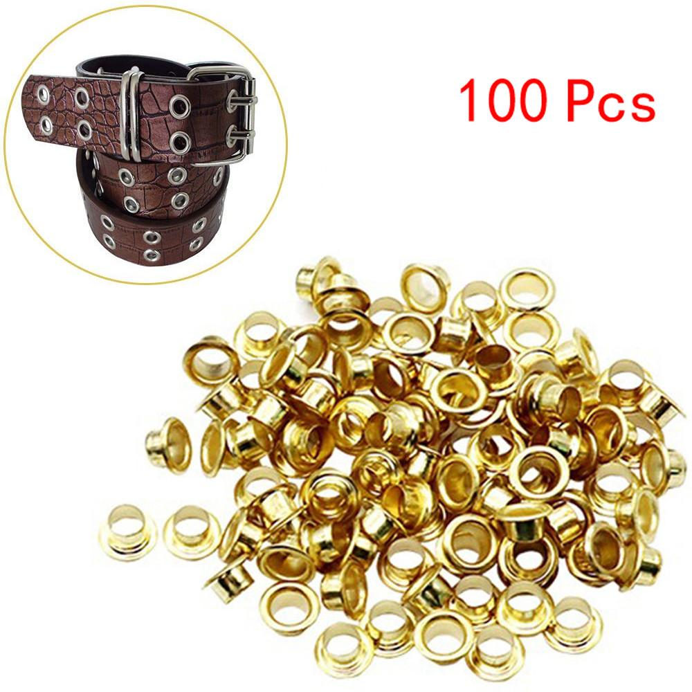4mm gold eyelets grommets with washers Metal Grommets rivets metal eyelets for canvas clothes leather craft shoes Purse Accessories 100set