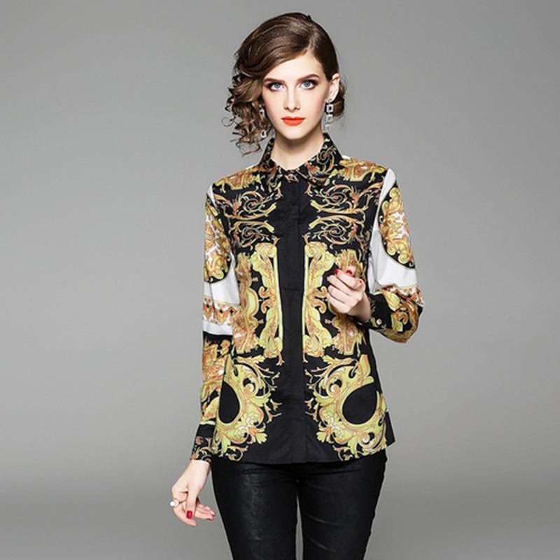 Spring Summer Fall Baroque Print Button Front Long Sleeve Women Top Shirt Blouse