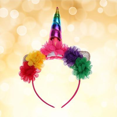 Fashion Unicorn Horn Flower Headband Ears elastic Glitter Headwear Party Cosplay