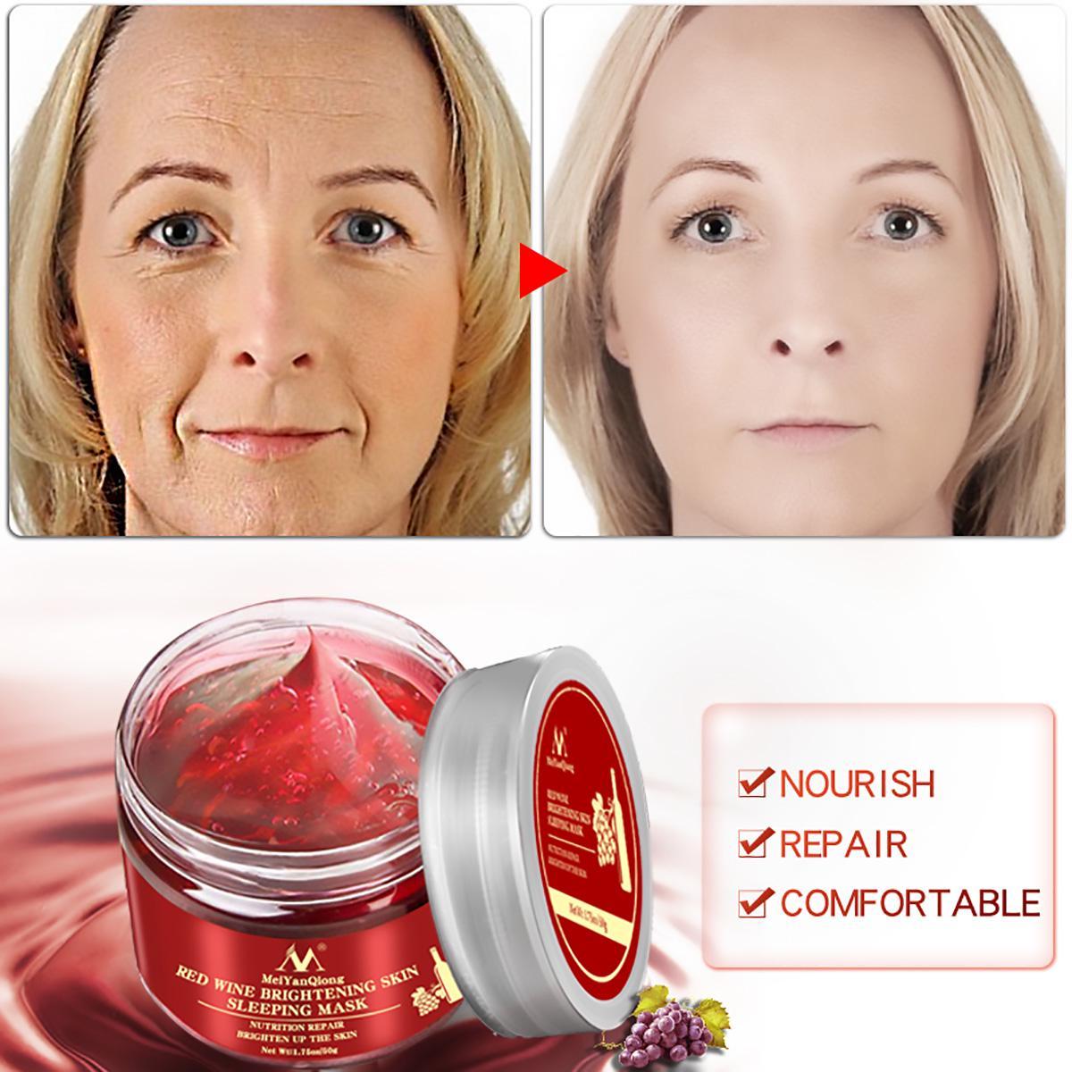 Красное вино Сущность Спящая лицевая маска отбеливание питательные маски увлажняющий ремонт питания фото