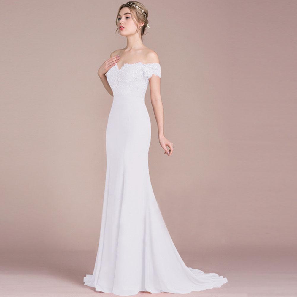 Hochzeit Party Kleid Frauen ab Schulter Kurzarm Elegant langes Kleid  beschatten