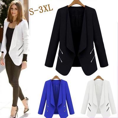 ce473a55214 Весна женщины Черный блейзер куртка бизнес Повседневная пальто открытый  блейзер