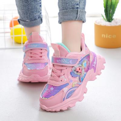 Girls' Sports Cotton Shoes Children's Plush Warm Princess Student Girls' Running Shoes
