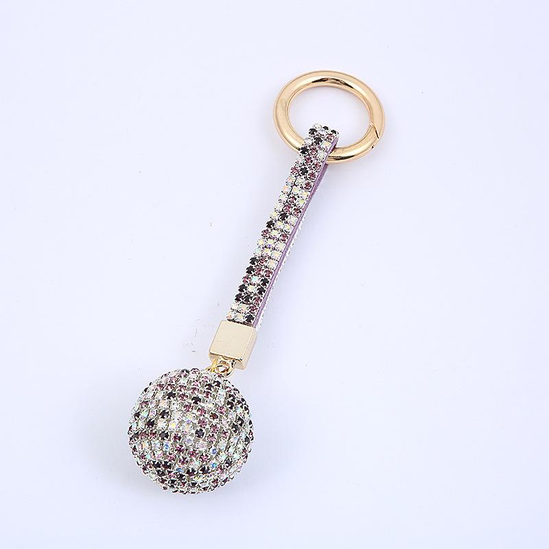 Crystal Car FashionCharm Pendant Rhinestone Ball Leather Strap Key Ring Keychain