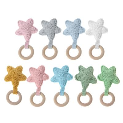 3Colors Wooden Natural Baby Teething Ring Chewie Teether Bunny Sensory Gift Toy