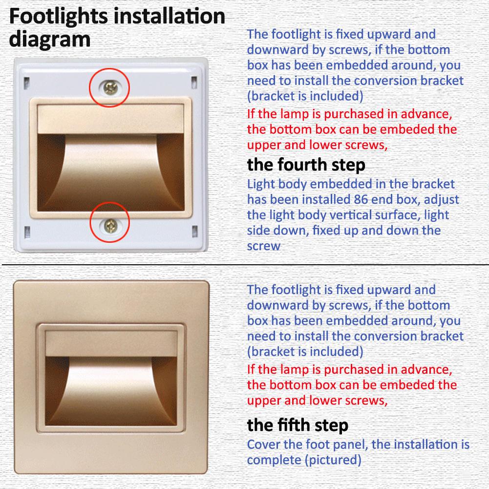 Type 86 Embedded Wall Lamp Led Footlights Corner Lights 3w Bottom Rondaful Motion Wiring Diagram 1 Of 11