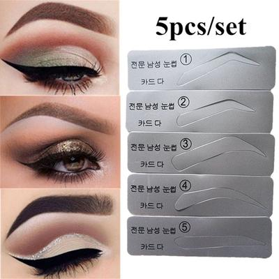 5pcs Eyebrow Template Stencils Brow Grooming Card Trimming Shaping