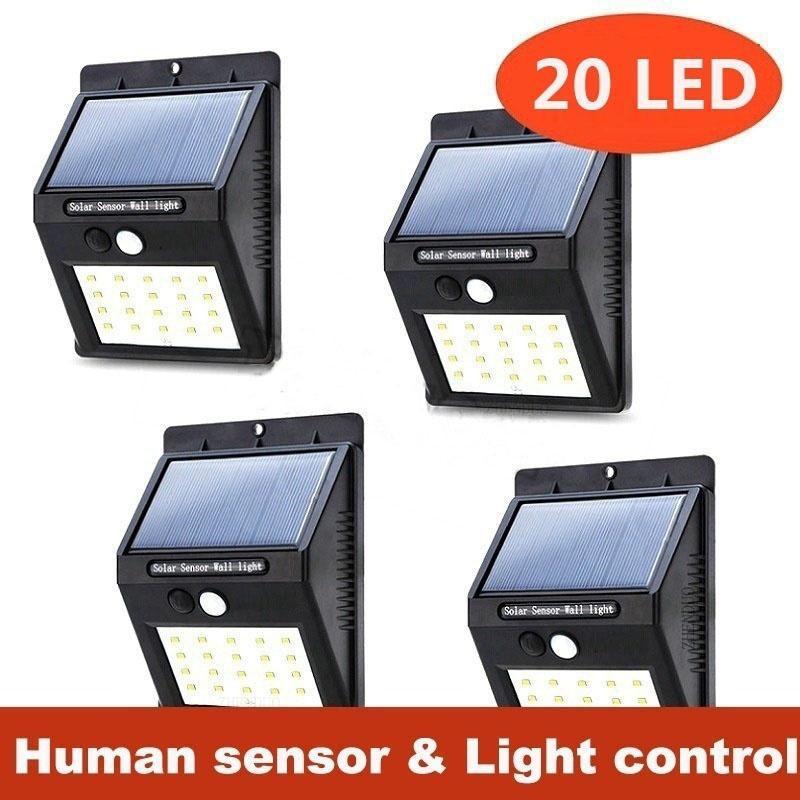 20 LED Solar Power Wall Light Flood PIR Motion Sensor Outdoor Garden Waterproof