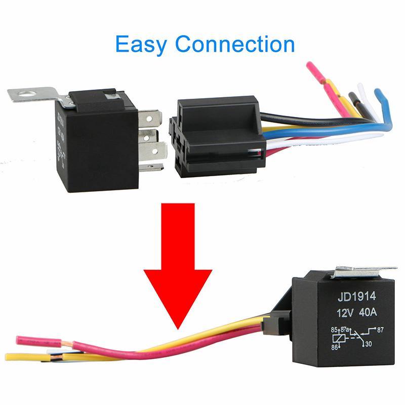 5Pcs DC 12V Car Automotive Relay SPDT 5-Pin 5 Wires Harness Socket 30//40 A