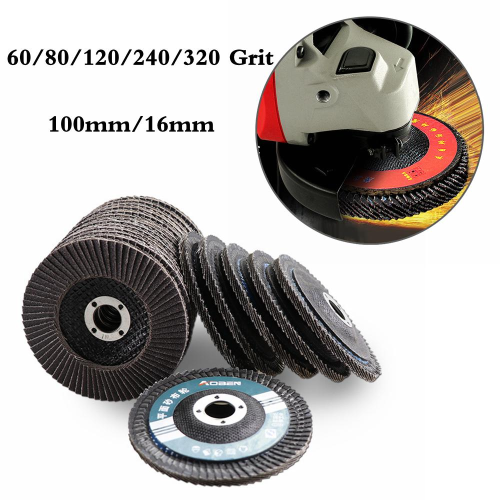 "4/"" 100mm Angle Grinder Flap Sanding Disc Polishing Wheel 60-320 Grit Rotary Tool"