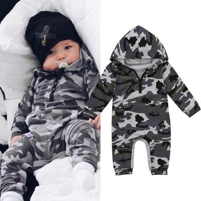 Newborn Infant Baby Boy Girl Hooded Romper Long Sleeve Jumpsuit Playsuit Outfit
