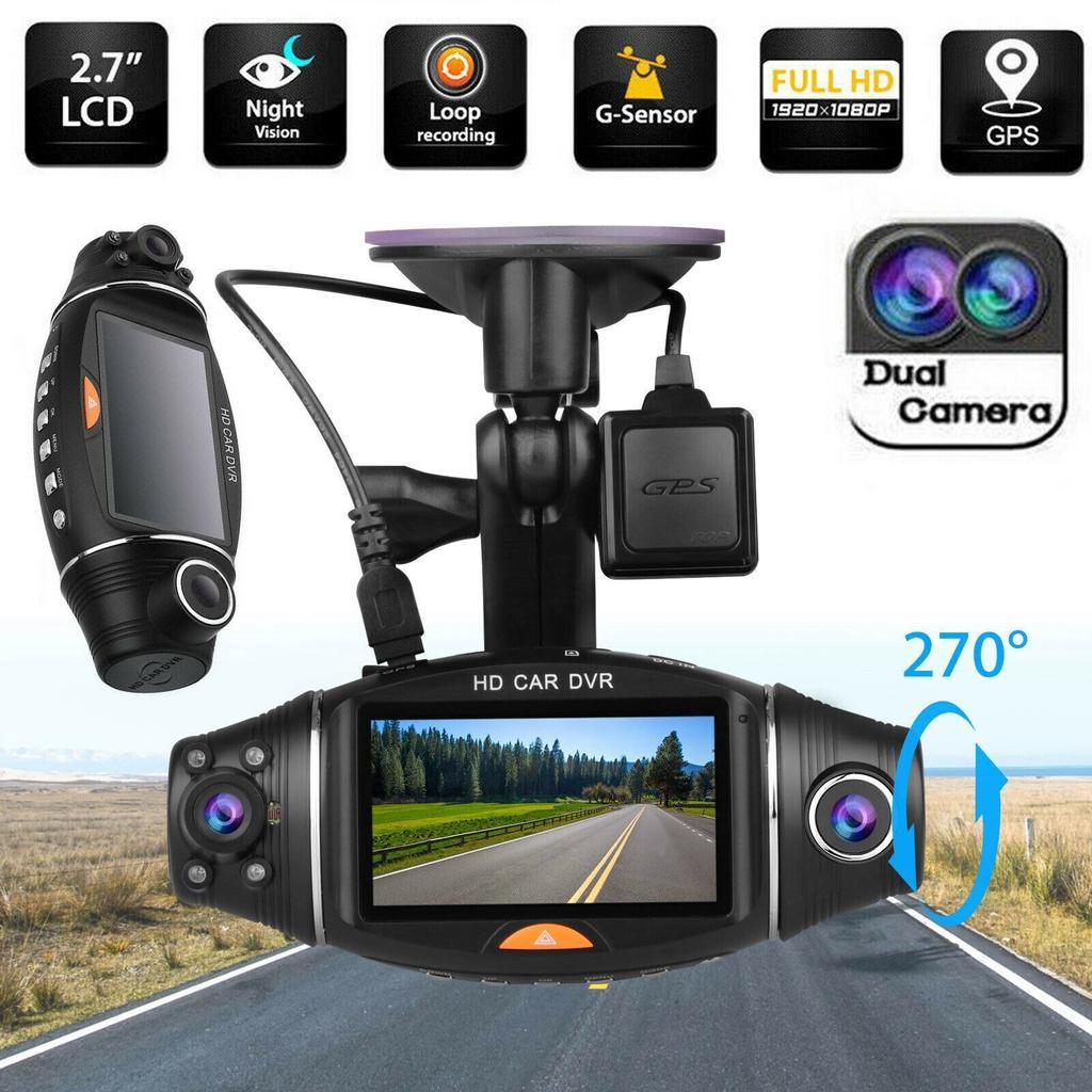 "2.7 ""Dual Lens in Car Camera Video Register Recorder DVR CAM G-sensor GPS Logger"