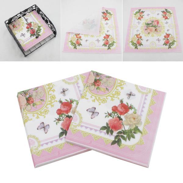 GGOOD Exquisite 20sheets//bag 33cm Christmas Napkins Paper Santa Claus Print Festival Napkin Pocket Handkerchief For Home Xmas Table Decoration