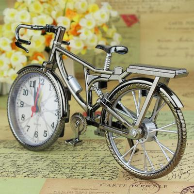 Home Decor Retro Bicycle Alarm Clock Arabic Numeral Creative Table Clock Cool Works of Art Ornaments