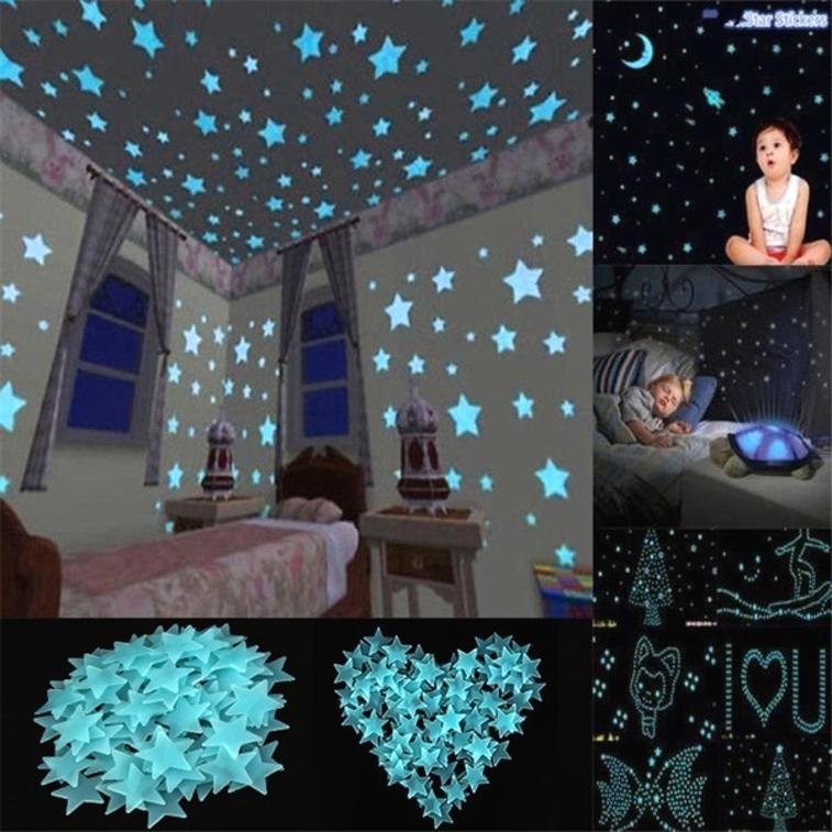 100Pcs пластикові 3D стіні наклейки світяться зірки сяють у темній дитині діти спальня номер decal