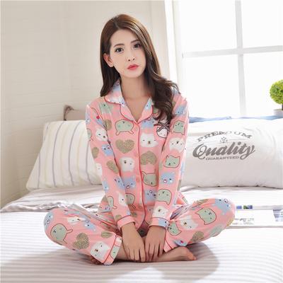 420634ef07d43 Весной и осенью Пижамы женские костюмы с длинными рукавами милый мультфильм  студентов носить дома