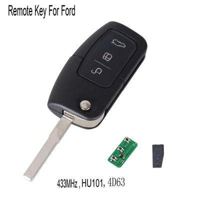 Remote Key 3 Button Remote Key Fob 433MHz with Chip 4D63 for Ford Focus C Max S Max Galaxy Mondeo