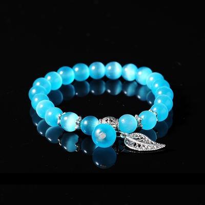 Women Lucky CatCrystalCharmCuff Bangle Beaded Handmade Bracelets Jewelry GiftYBF