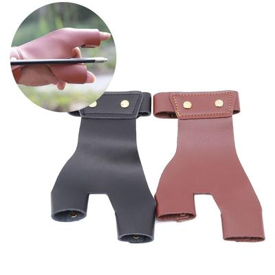 Cow Leather Archery Bow Finger Tab Protector Shooting Finger Guard Tool Red