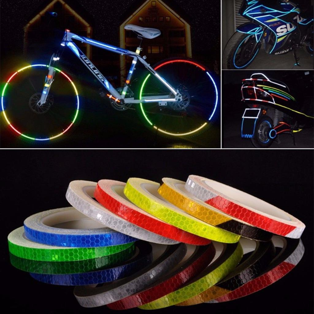 Bicycle Reflective Wheel Rim Stickers Hi Vis Bike Cycling Safety Reflector Tape
