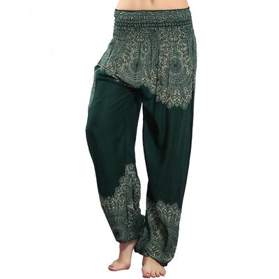 3239fd0d8d003 CHRLEISURE Women s Lantern Pants Yoga Pants African Flower Fashion Casual  Summer Loose Cotton Silk
