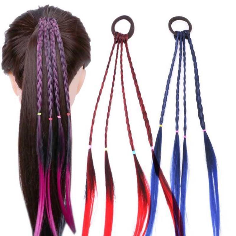 Творческие новых детей леди малыш парик градиента стример парик волос кольцо волос кольцо волос веревки косы фото