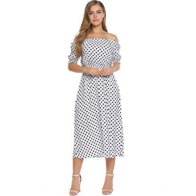 1553da0dead Женщины от плеча Половина рукав полька точка пляжную вечеринку длинные  платье