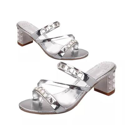 2d33e609f1f7 NE Korean Fashionable Women Rhinestone Slipper High Heels Female Fish Head  Shoes