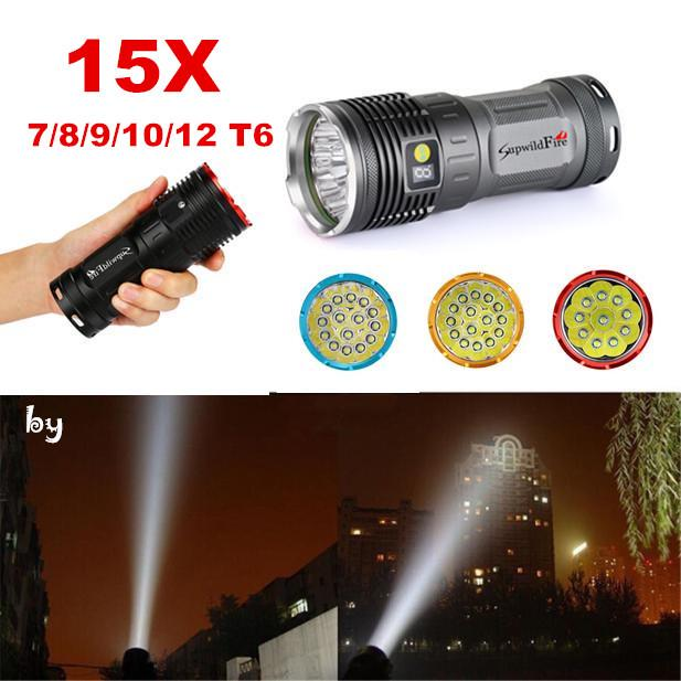 Supwildfire 10x Cree LED Camping Flashligt Torch Digital Display Power 30000LM
