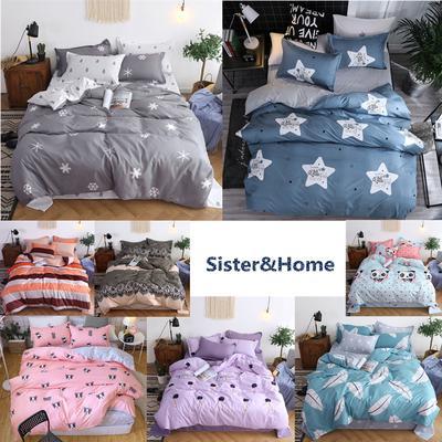 fcce3720e4 Four-Piece Bedding Bed Sleep Set Quilt Duvet Cover Pillowcase Sheet Cute  Star Dog Pattern