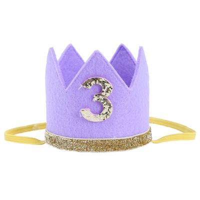 Baby Boy Girl First Birthday Hat Crown Numbers Headband Tiara Party Photo Props Purple 3