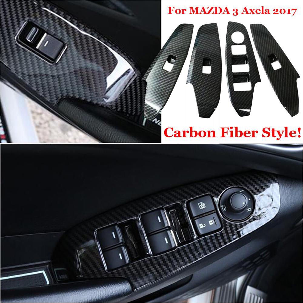 4pcs ABS Matte Interior Side Door Inner Handle Bowls Cover Frame Trim Decor For Mazda 3 M3 Axela 2014 2015 2016 2017