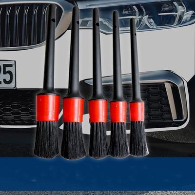 5Pcs//set Detailing Brush Dry Wet Cleaning Brushes Soft Car Brush Tool Black