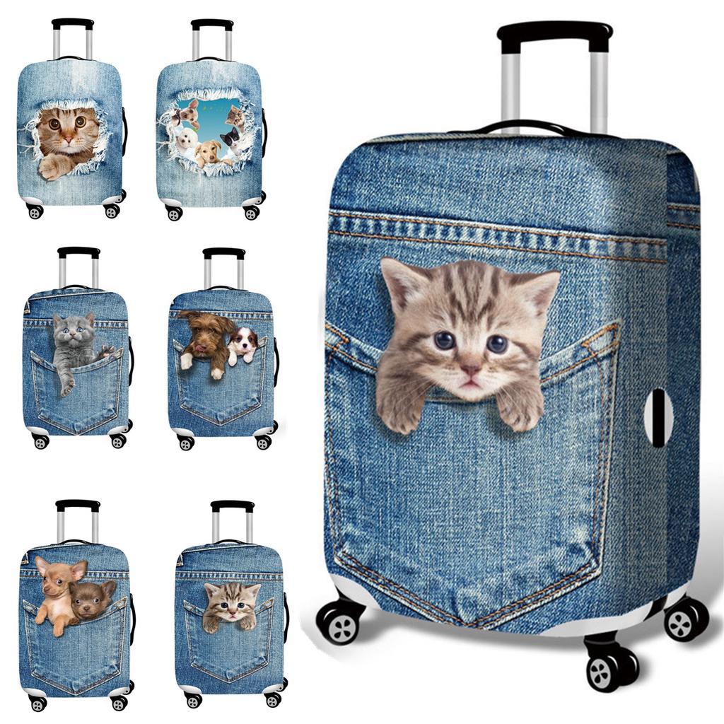 3D милый кот собака эластичный багажный чехол тележка чехол прочный чемодан протектор для 18-32 дюймов – купить по низким ценам в интернет-магазине Joom