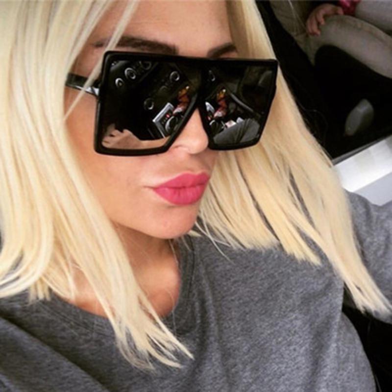 Большой кадр негабаритных солнцезащитные очки Square бренд дизайнер женщины мода oculos де Sol UV400