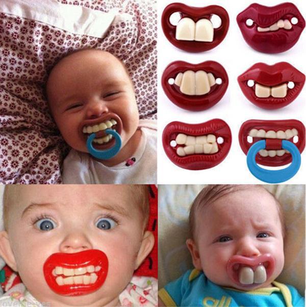 Baby Boy Girl Funny Novelty Dummy Baby Pacifier Vampire Tooth Nipple Trendy