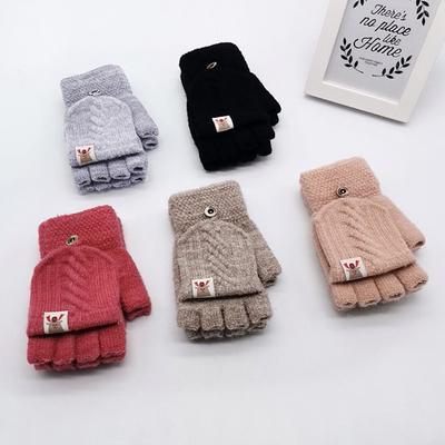 Kids Cartoon Rabbit Knitted Mittens Windproof Thick Velvet Children Ski Gloves