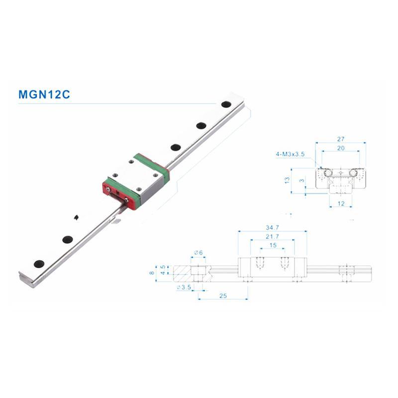 MGN12C Mini Linear Führungsschiene Gleitstein