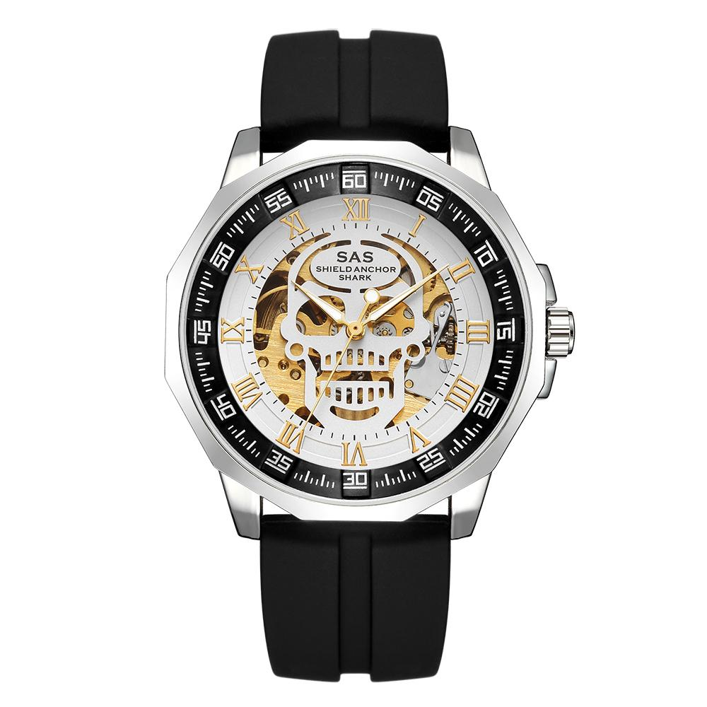 SAS Shield Anchor Shark Sports Watch Men's Fashion 3D Skull Design Retro Mechanical Silicone Watch-buy at a low prices on Joom e-commerce platform