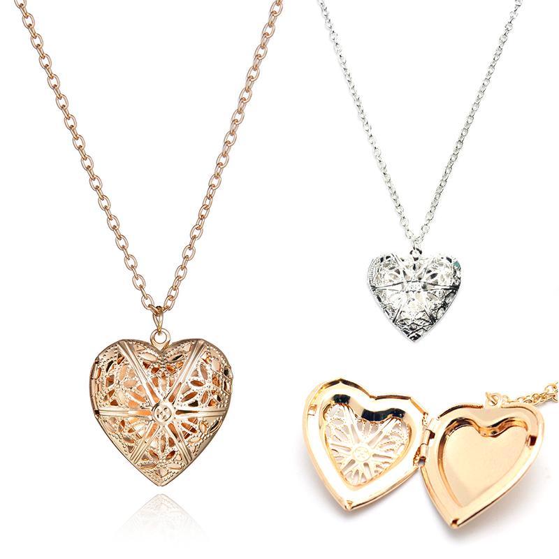 Милые Мода полые сердца форма открытия Фото Box Кулон женщин девочек Ожерелья Ювелирные изделия фото