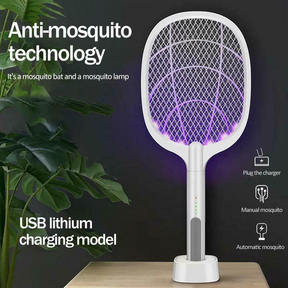 2-IN-1 ELECTRIC SWATTER /& NIGHT MOSQUITO KILLING LAMP USB Rechargeable 1200mAh