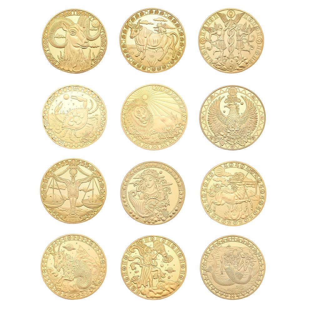 12 Созвездие Золотой пластины Физические Памятные Монета Коллекционный подарок фото