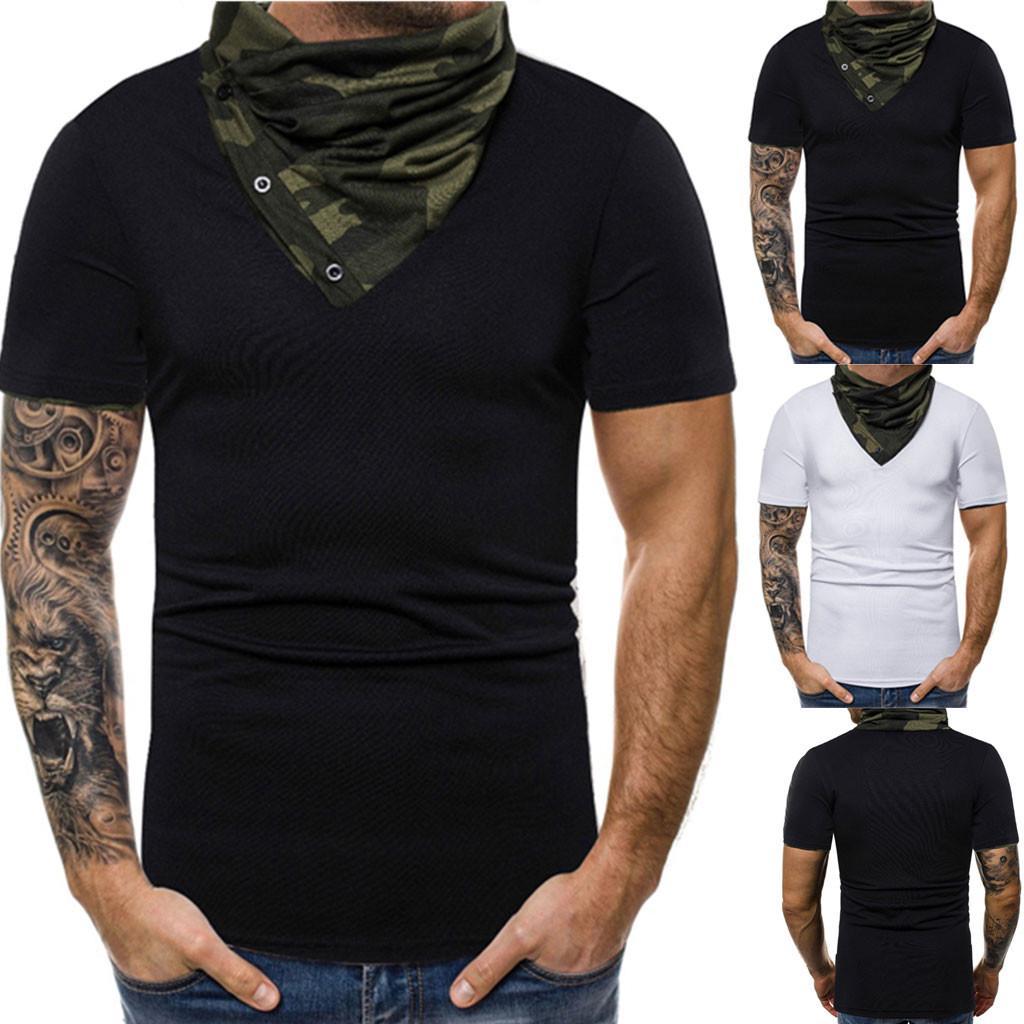 YYear Men Office Solid Lapel Short Sleeve T-Shirt Tee