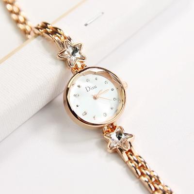 Jewelry Women Fashion Rhinestone Pentagram Round Dial Quartz Alloy Wrist Watch